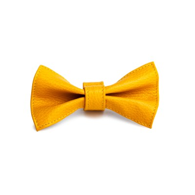 yellow-leather-dog-bowtie